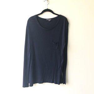 Vince Navy Long Sleeve Pocket T-Shirt Medium